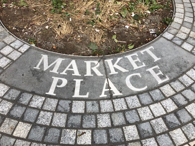 stone with 'market place' engraved into it