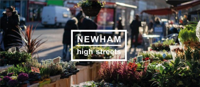 Blurred image of high street with text 'NEWHAM high streets' superimposed